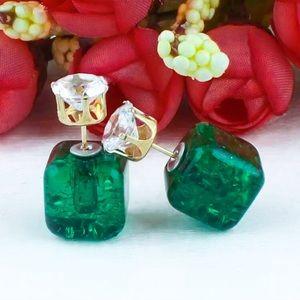 ⚜️[𝟯/$𝟭𝟴]⚜️Green Cube Crystal Stud Earrings New